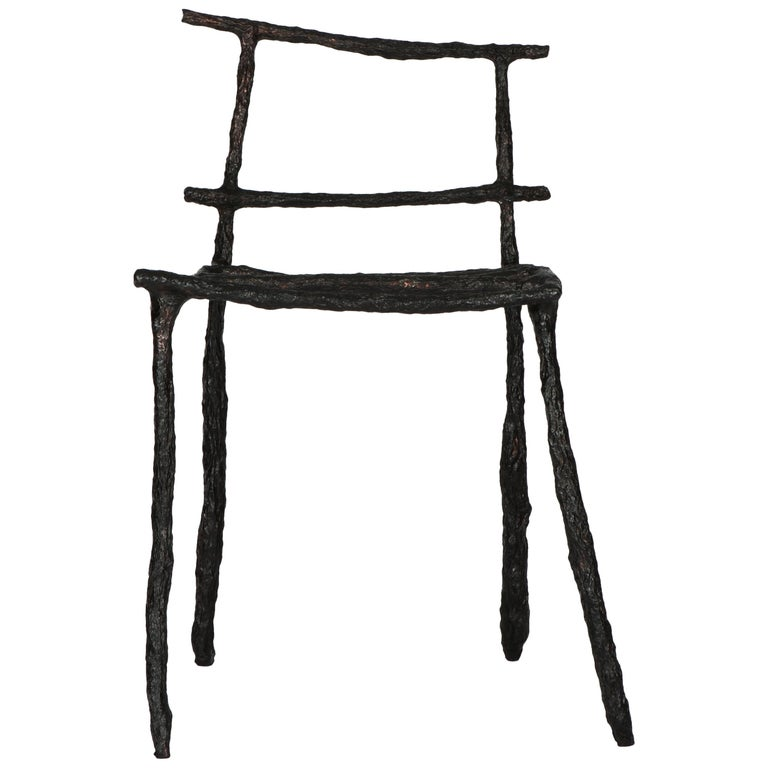 Stick Sculpted Chair, Signed by Michael Gittings For Sale