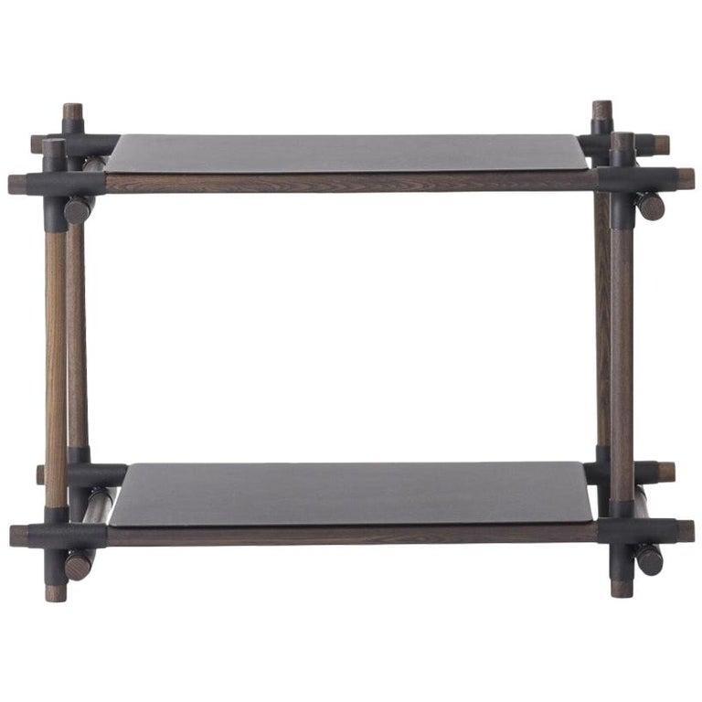 Stick System, Dark Ash Shelves with Black Poles, 1 x 2 For Sale