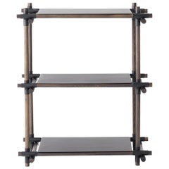 Stick System, Dark Ash Shelves with Black Poles, 1x3