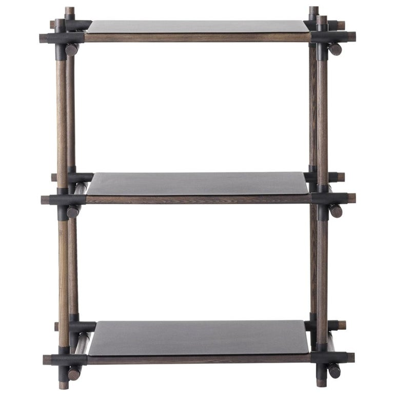 Stick System, Dark Ash Shelves with Black Poles, 1x3 For Sale