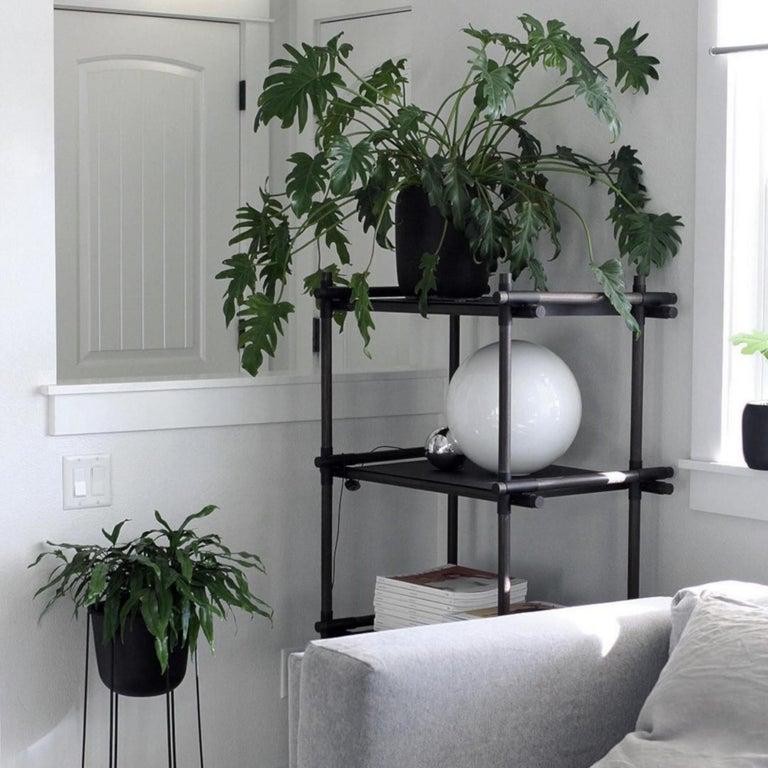 European Stick System, Dark Ash Shelves with Black Poles, 1 x 4 For Sale