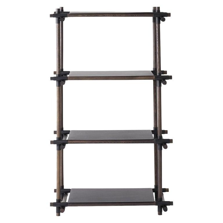 Stick System, Dark Ash Shelves with Black Poles, 1 x 4 For Sale