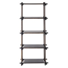 Stick System, Dark Ash Shelves with Black Poles, 1x5