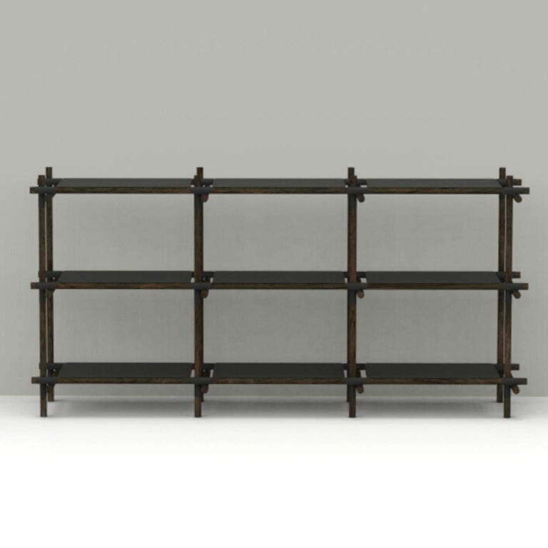 Stick System, Dark Ash Shelves with Black Poles, 3x3 For Sale 3
