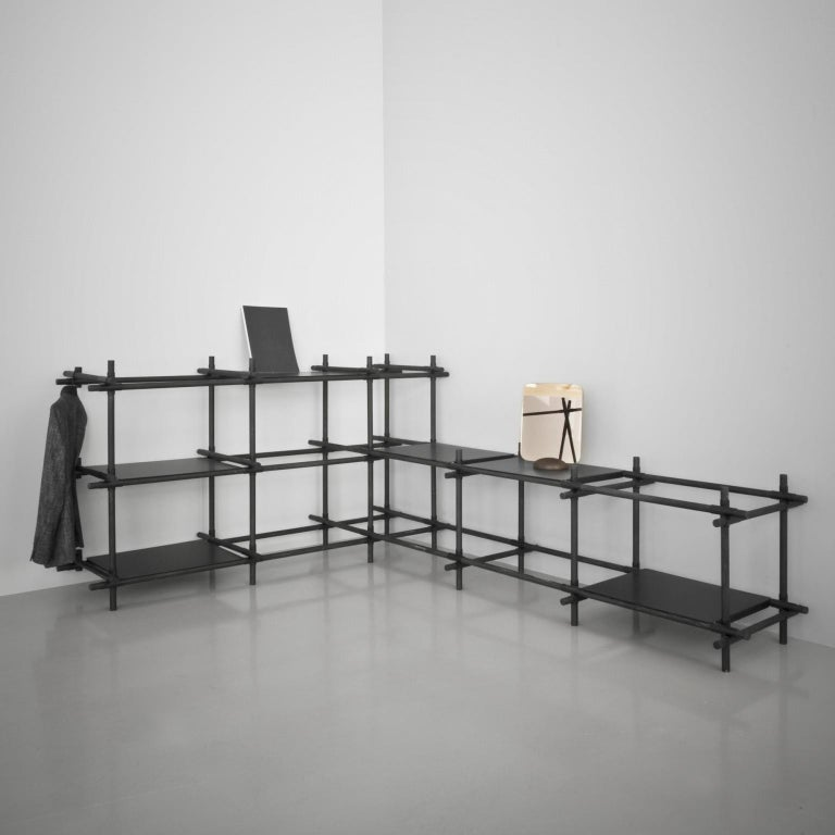 Stick System, Dark Ash Shelves with Black Poles, 3x3 For Sale 5