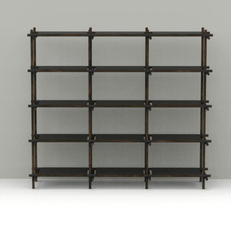 Stick System, Dark Ash Shelves with Black Poles, 3x5 For Sale 3