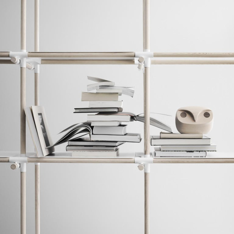 Stick System, Dark Ash Shelves with Black Poles, 3x5 For Sale 7
