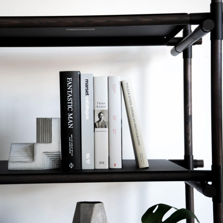 Stick System, Dark Ash Shelves with Black Poles, 3x5 In New Condition For Sale In San Marcos, CA