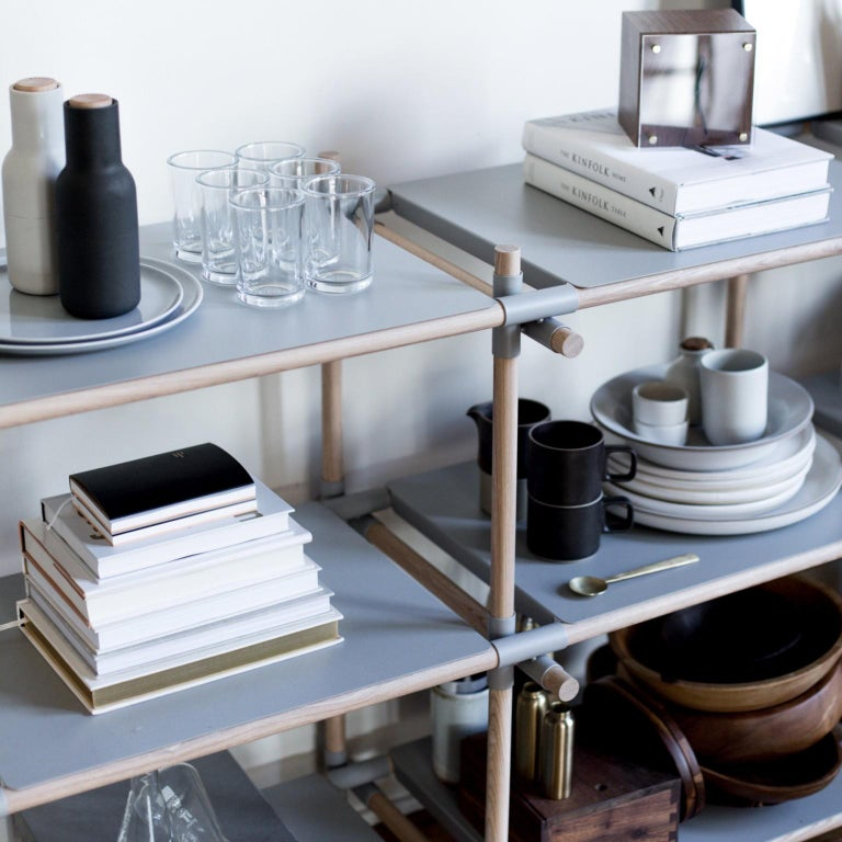 Powder-Coated Stick System, Light Ash Shelves with Grey Poles, 3x4 For Sale