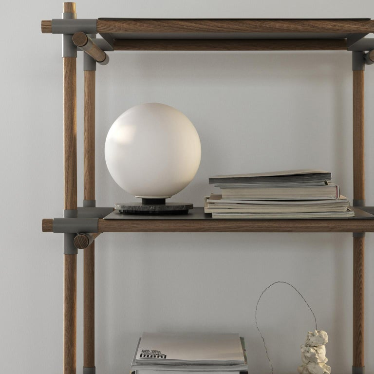 European Stick System, Light Grey Ash Shelves with Light Grey Poles, 1 x 4 For Sale