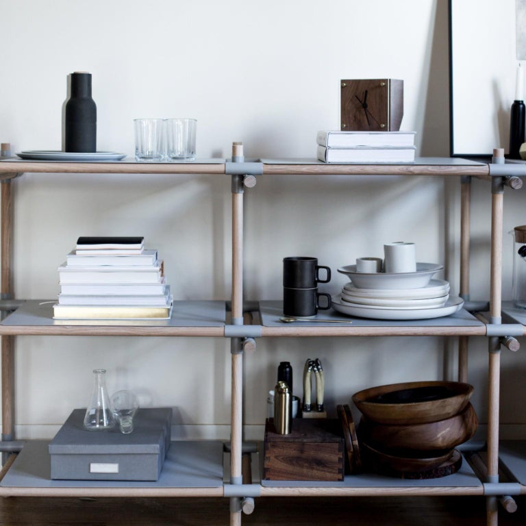 Contemporary Stick System, Light Grey Shelves with Grey Poles, 3x3 For Sale