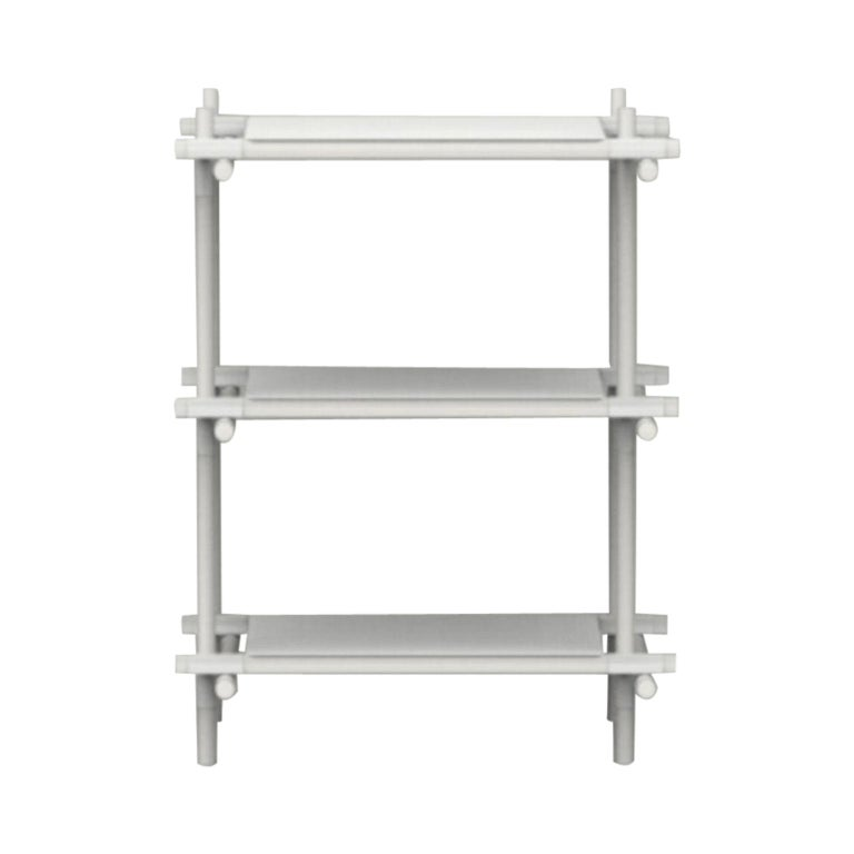 Stick System, White Ash Shelves with White Poles, 1 x 3 For Sale