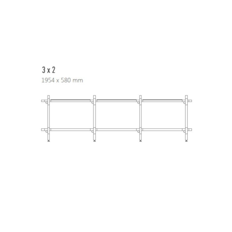 Scandinavian Modern Stick System, White Shelves with White Poles, 3x2 For Sale
