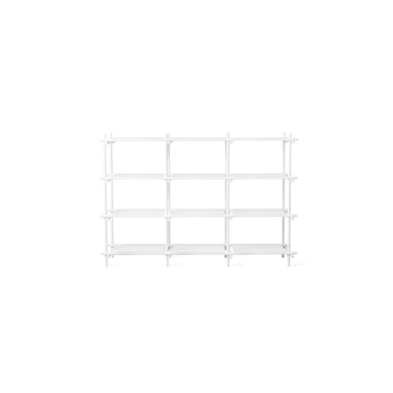 Scandinavian Modern Stick System, White Shelves with White Poles, 3x4 For Sale