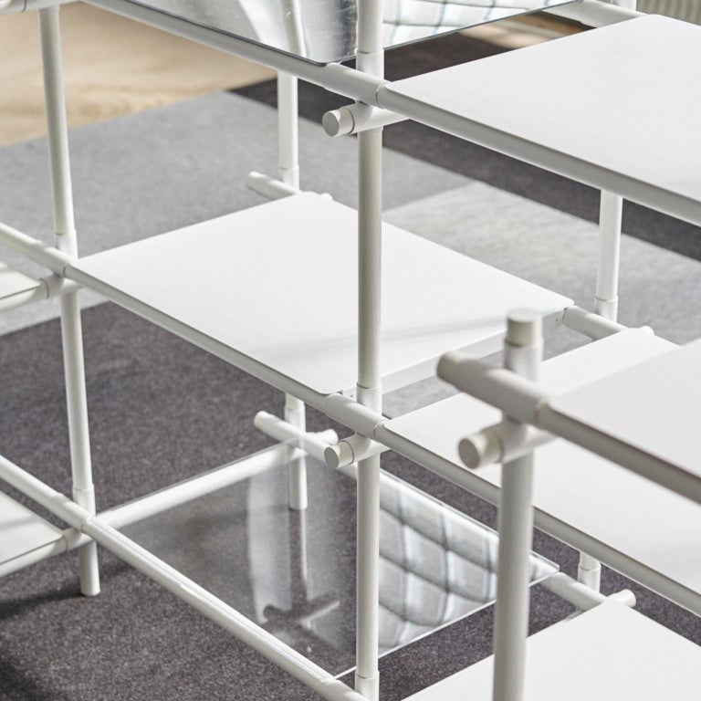 Powder-Coated Stick System, White Shelves with White Poles, 3x4 For Sale