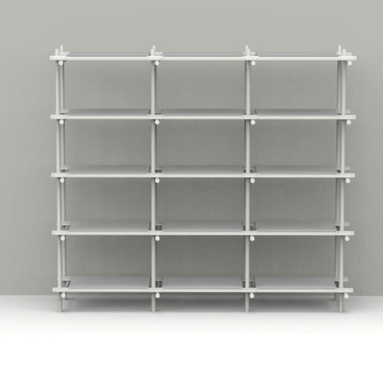 Scandinavian Modern Stick System, White Shelves with White Poles, 3x5 For Sale