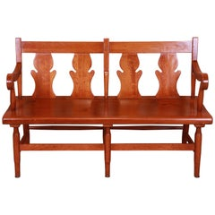 Stickley American Colonial Cherry Wood Fiddle Back Bench or Settee, Circa 1950s