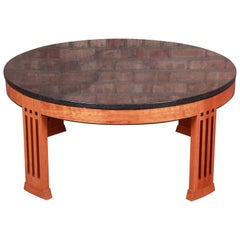Stickley Arts & Crafts Cherrywood Granite Top Coffee Table