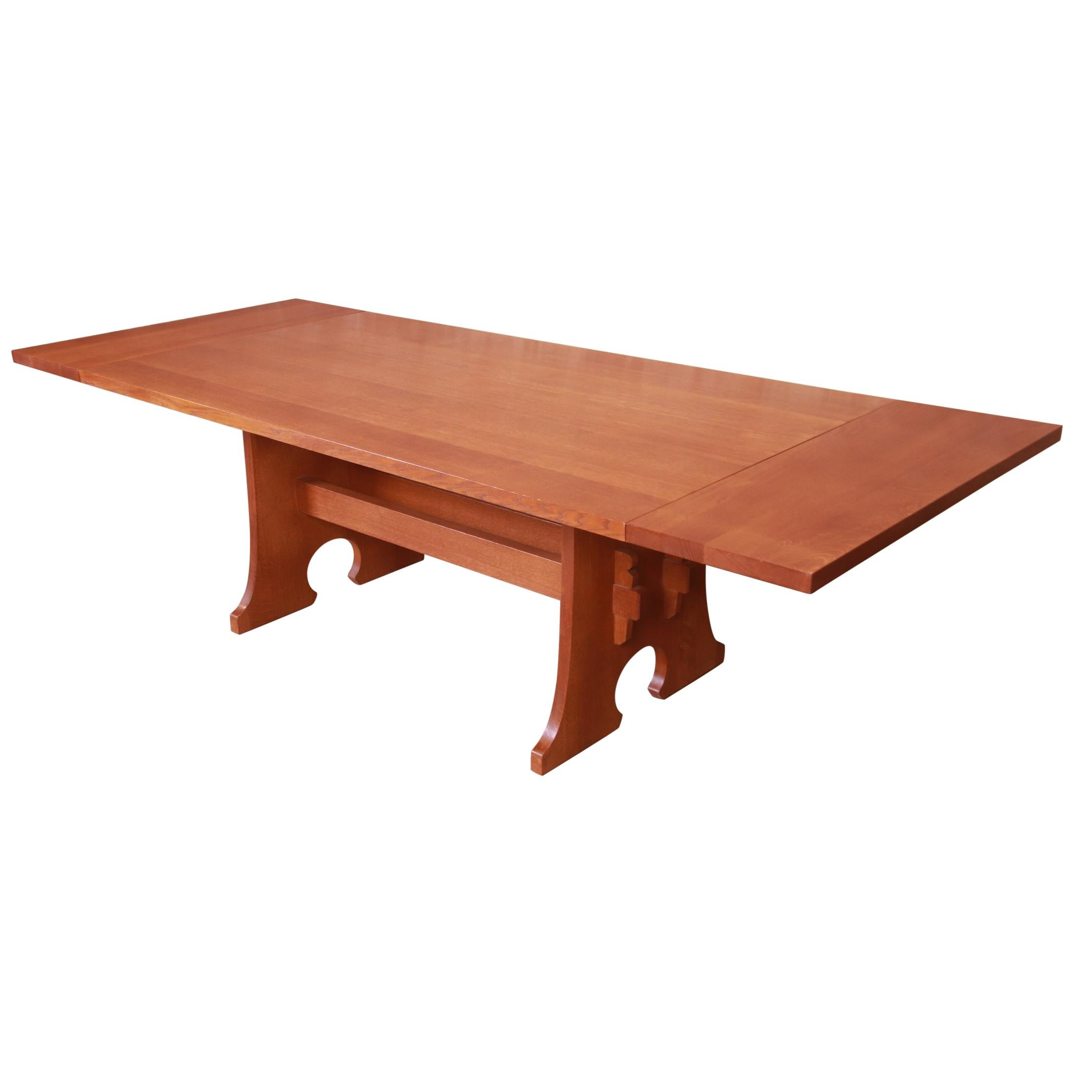 Stickley Arts & Crafts Solid Oak Trestle Base Extension Dining Table