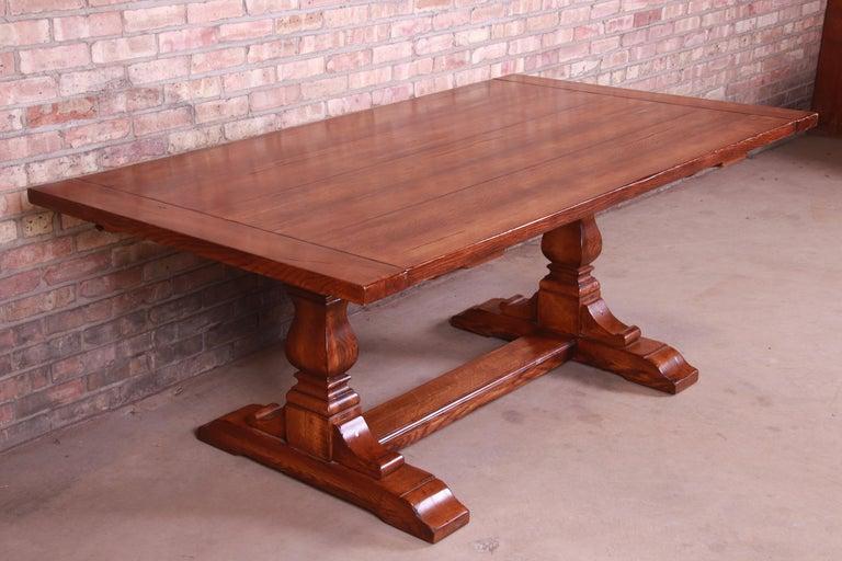 Stickley Arts & Crafts Solid Oak Trestle Base Harvest Dining Table For Sale 5