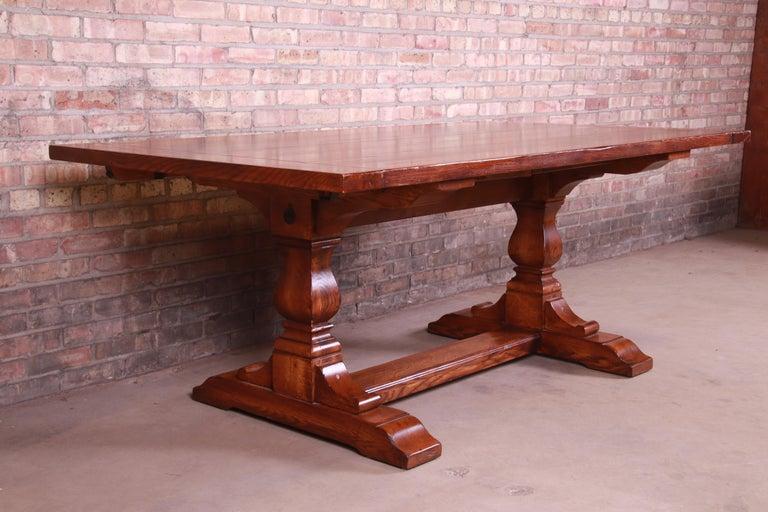 Stickley Arts & Crafts Solid Oak Trestle Base Harvest Dining Table For Sale 6