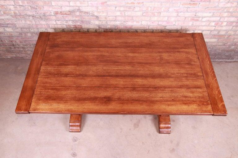 Stickley Arts & Crafts Solid Oak Trestle Base Harvest Dining Table For Sale 7