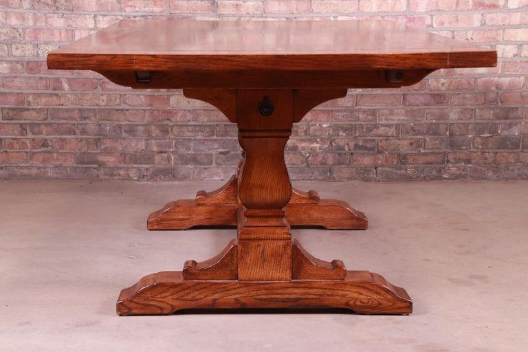 Stickley Arts & Crafts Solid Oak Trestle Base Harvest Dining Table For Sale 8