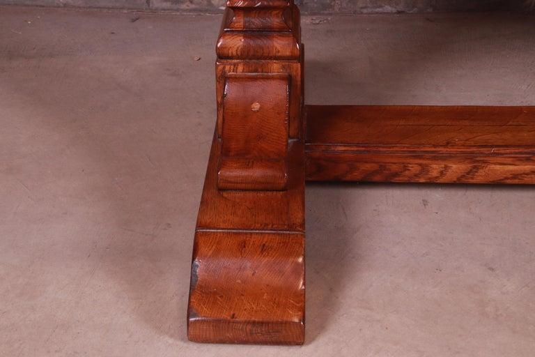 Stickley Arts & Crafts Solid Oak Trestle Base Harvest Dining Table For Sale 9