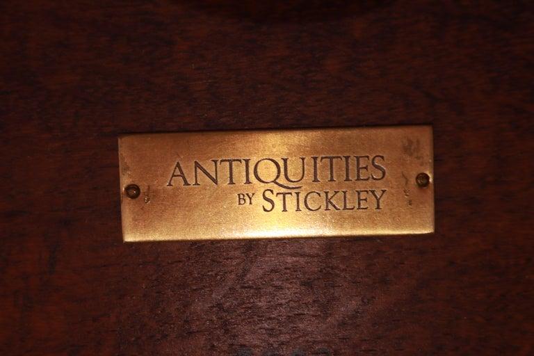 Stickley Arts & Crafts Solid Oak Trestle Base Harvest Dining Table For Sale 10