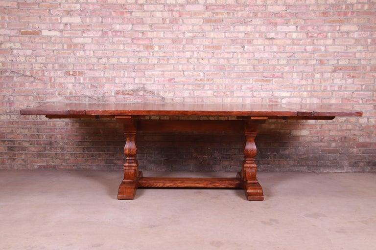 Arts and Crafts Stickley Arts & Crafts Solid Oak Trestle Base Harvest Dining Table For Sale