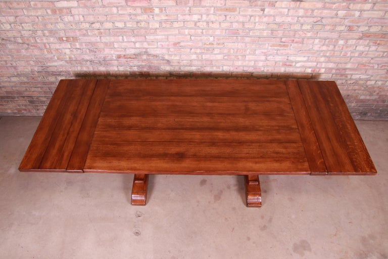 Stickley Arts & Crafts Solid Oak Trestle Base Harvest Dining Table In Good Condition For Sale In South Bend, IN