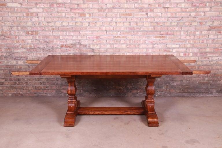 20th Century Stickley Arts & Crafts Solid Oak Trestle Base Harvest Dining Table For Sale