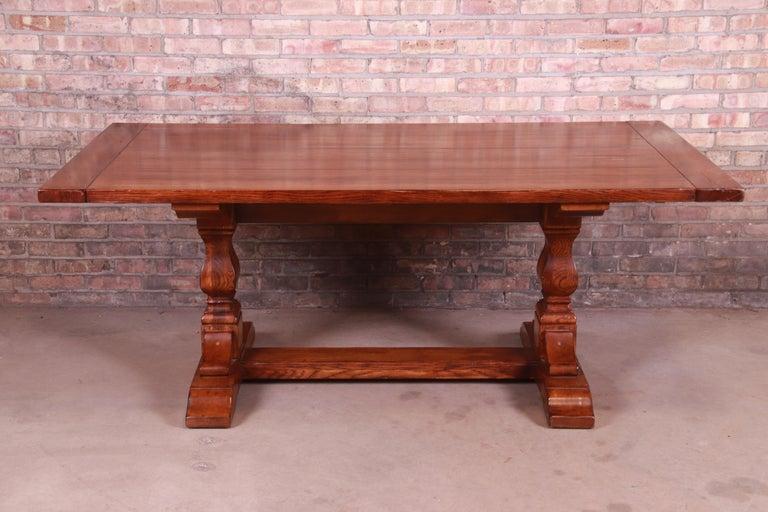 Stickley Arts & Crafts Solid Oak Trestle Base Harvest Dining Table For Sale 1