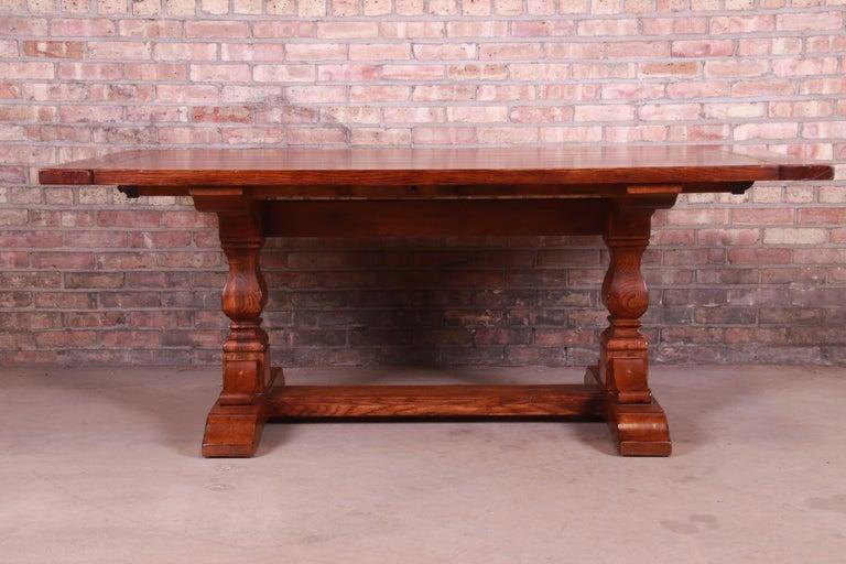 Stickley Arts & Crafts Solid Oak Trestle Base Harvest Dining Table For Sale 2