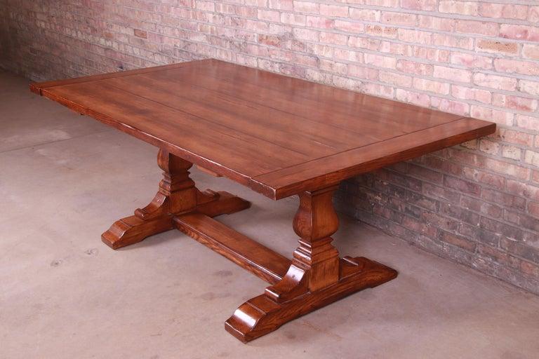 Stickley Arts & Crafts Solid Oak Trestle Base Harvest Dining Table For Sale 3