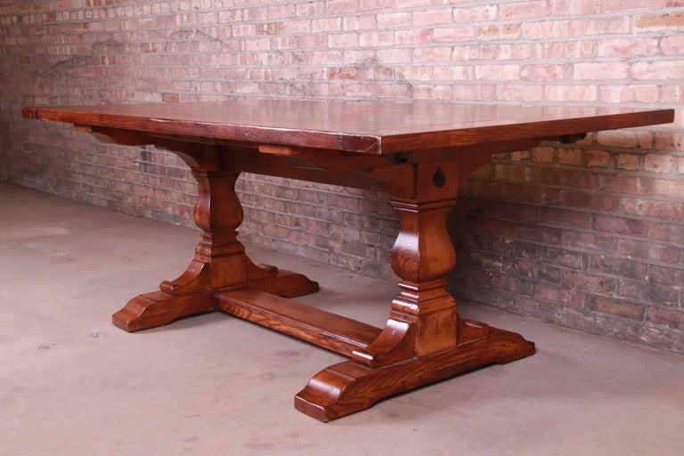 Stickley Arts & Crafts Solid Oak Trestle Base Harvest Dining Table For Sale 4