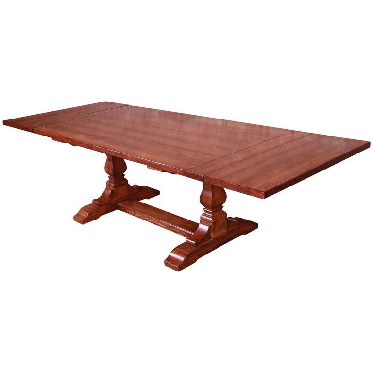 Stickley Arts & Crafts Solid Oak Trestle Base Harvest Dining Table For Sale