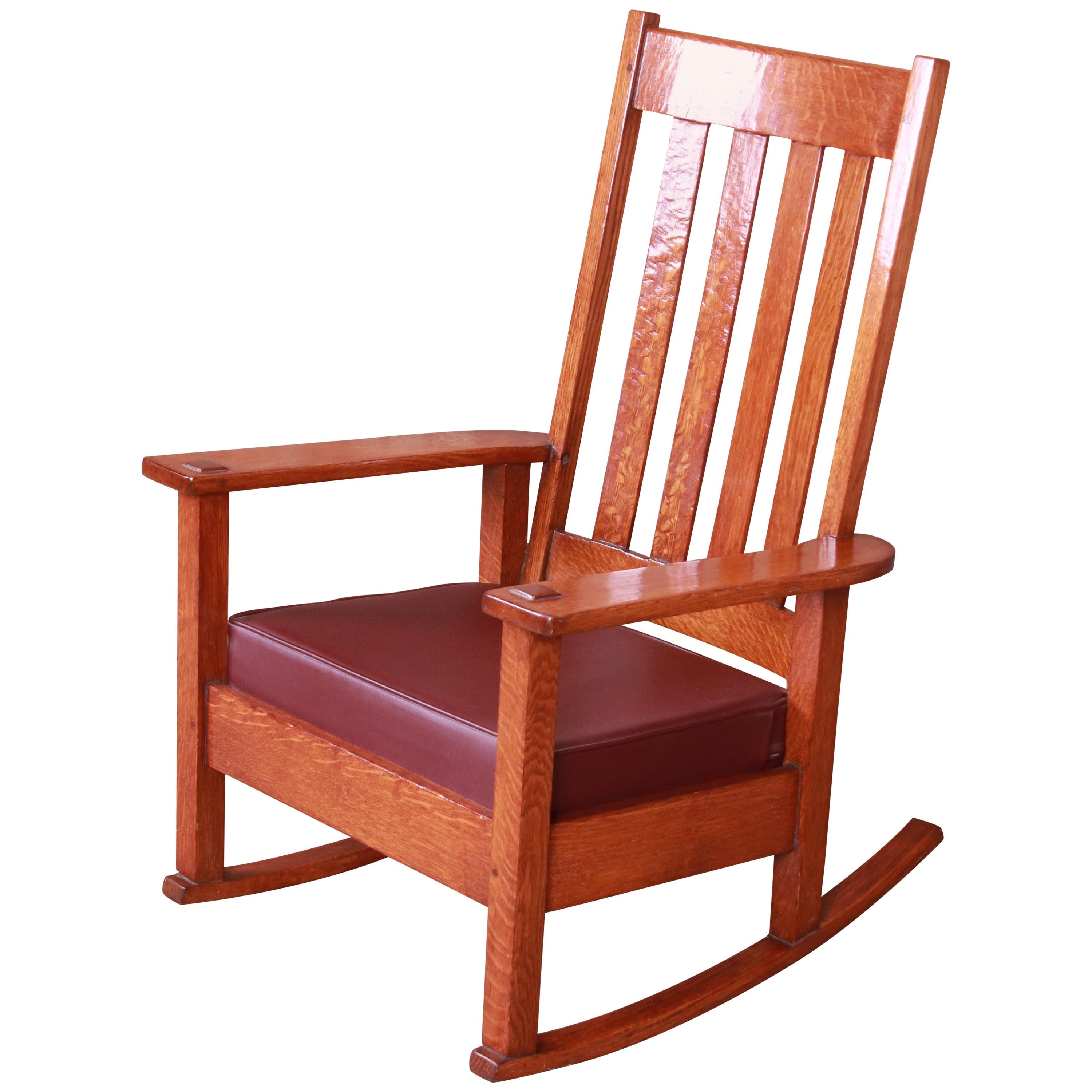 Stickley Brothers Arts & Crafts Oak and Leather Rocking Chair, circa 1900