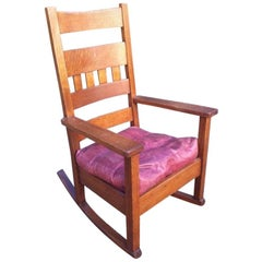 Stickley Brothers in the Style of, an American Arts & Crafts Oak Rocking Chair