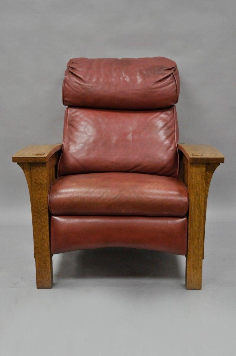 Fantastic Stickley Mission Oak Bustle Back Leather Recliner Reclining Machost Co Dining Chair Design Ideas Machostcouk