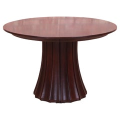 Stickley Modern Dark Mahogany Pedestal Extension Dining Table, Newly Refinished