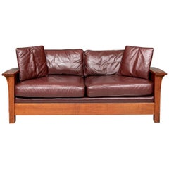 Stickley Oak Mission Orchard Street Oxblood Leather Sofa