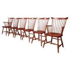 Stickley Solid Maple Spindle Back Windsor Dining Chairs, Set of Six