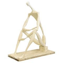 """Stievenart Michel Plaster Sculpture """"Seated Man"""" Dated 1960, by Michel Stievenar"""