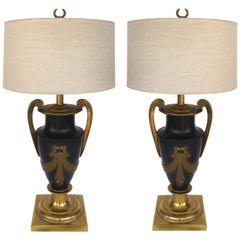 Stiffel Brass Neoclassical Urn Table Lamps, a Pair