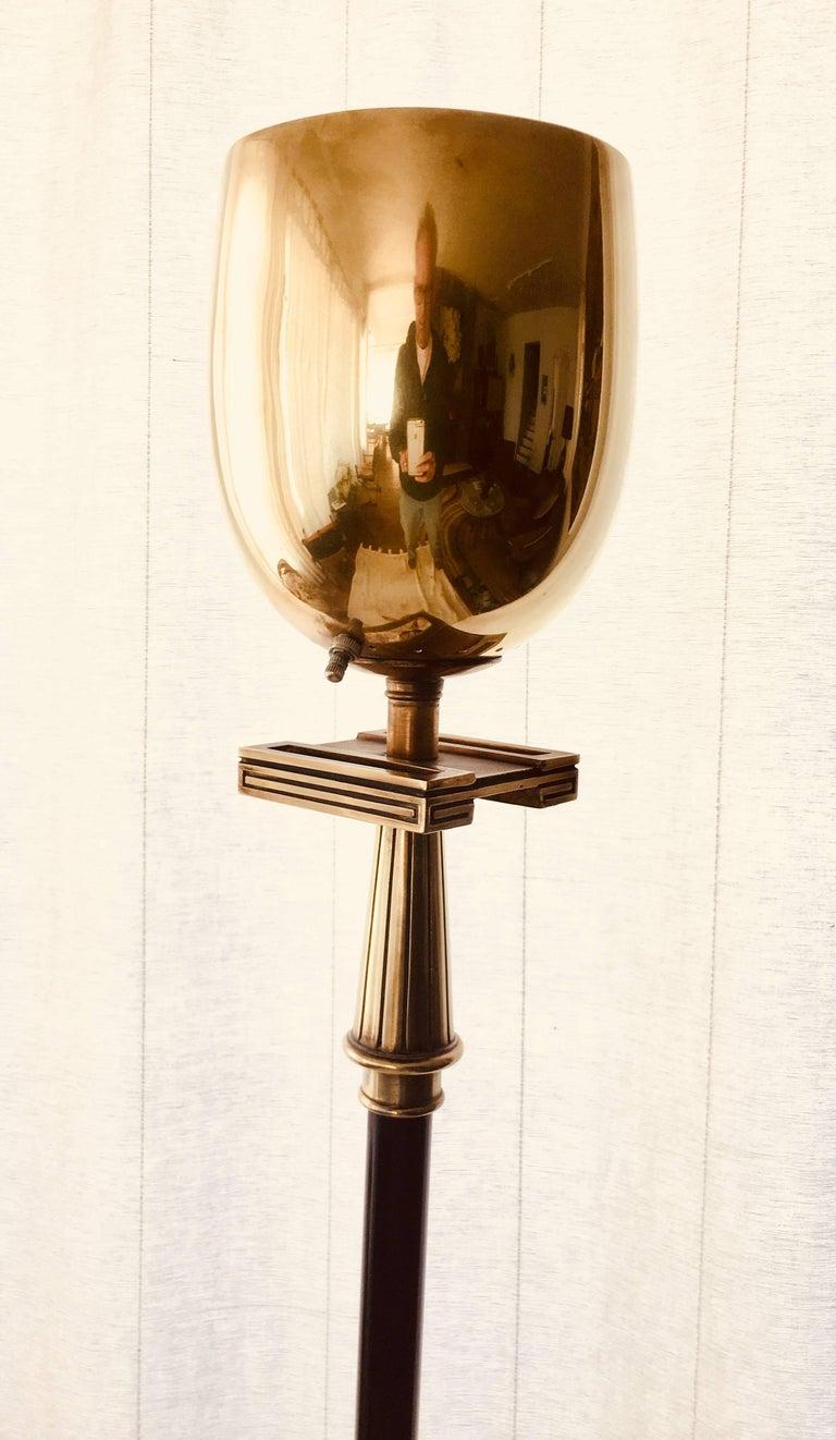 Stiffel Brass Torchere Floor Lamp Greek Key Design