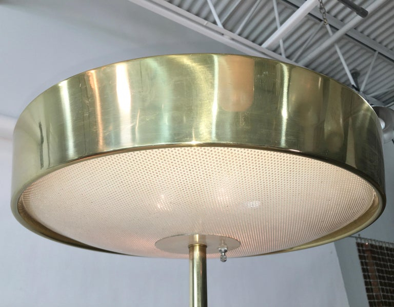 American Stiffel Brass and Walnut Floor Lamp For Sale