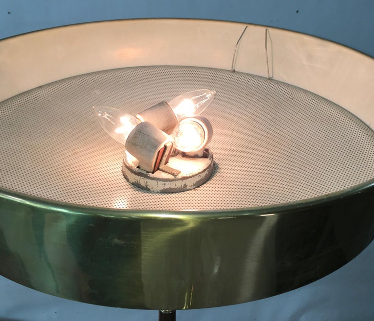 Anodized Stiffel Brass and Walnut Floor Lamp For Sale