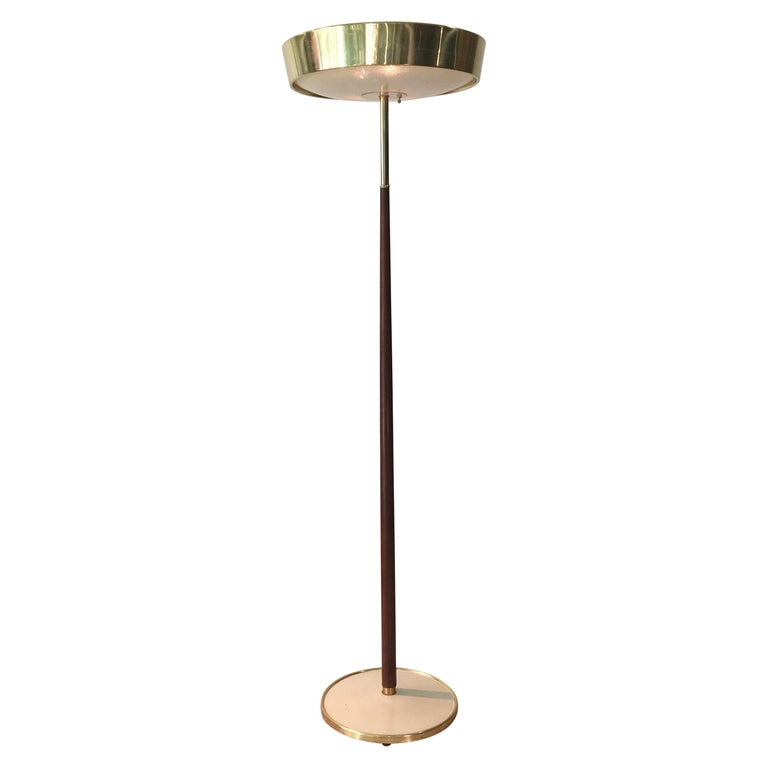 Stiffel Brass and Walnut Floor Lamp For Sale
