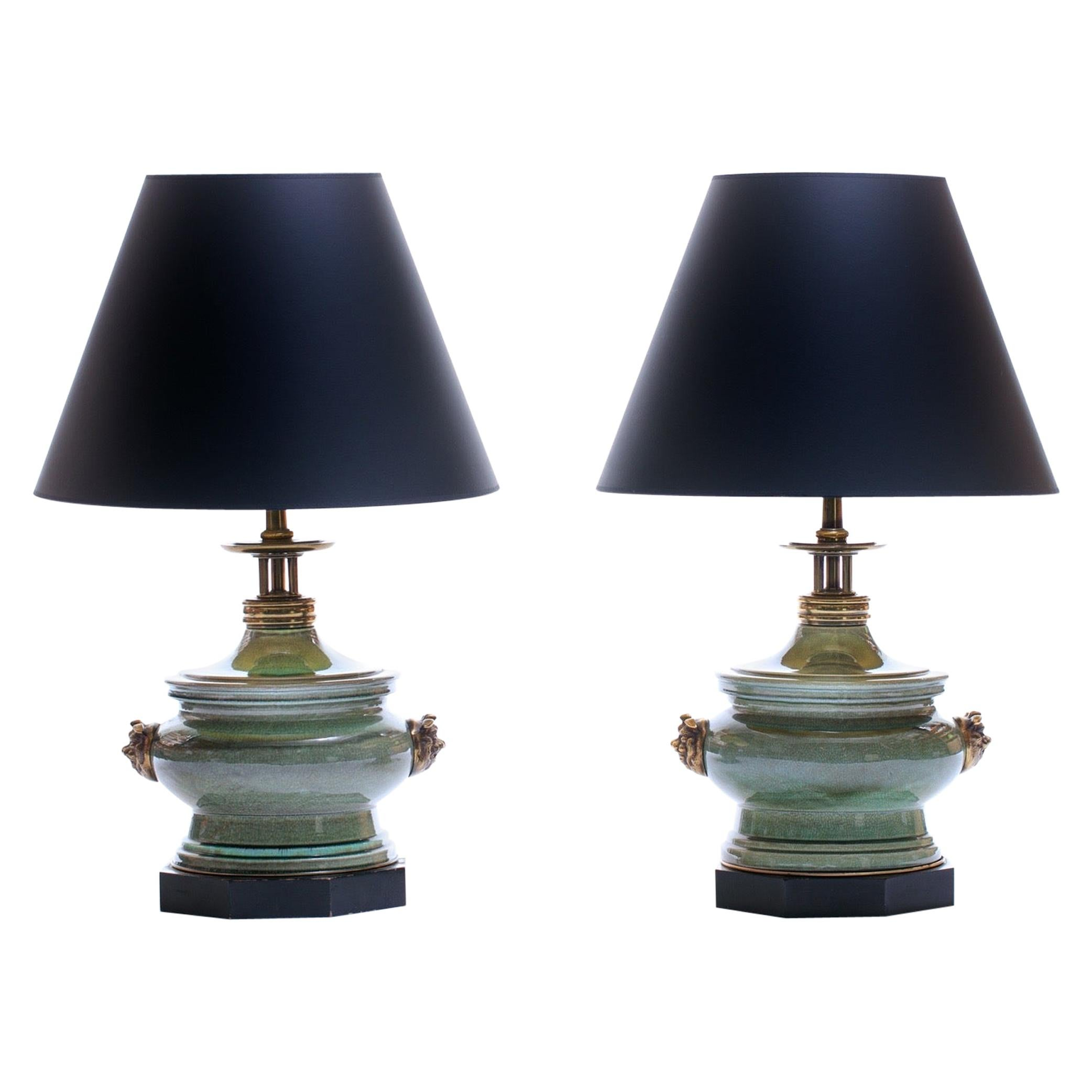 Stiffel Large Chinoiserie Ceramic and Brass Dragon / Foo Dog Lamps by Edwin Cole